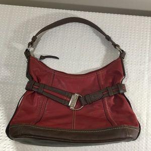 Handbags - Tignanello Leather Red with Brown trim purse